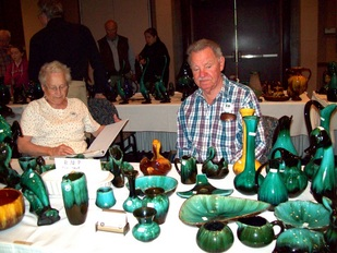 Doreen and Mike Heenan at their Blue Mountain Pottery Display Table